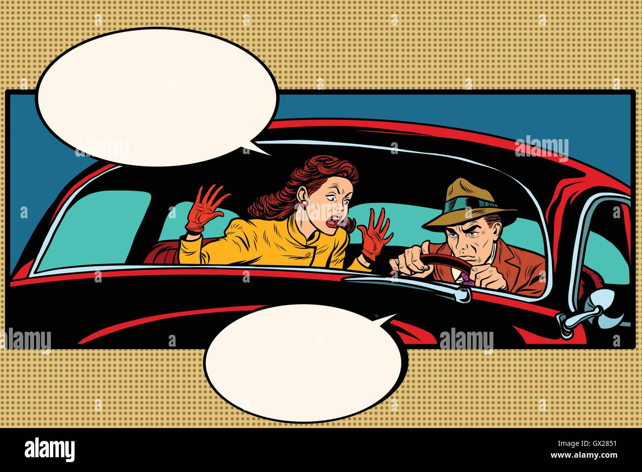 Husband and wife quarrel in the car - Stock Vector