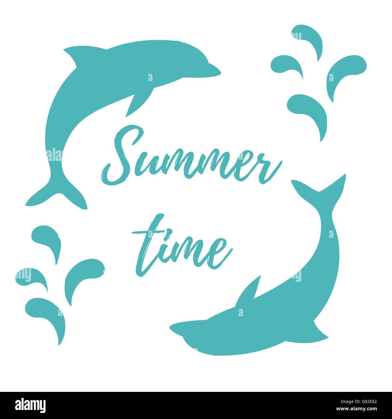 Nice picture with two colored dolphins with splashes and inscription Summer time on white background - Stock Image