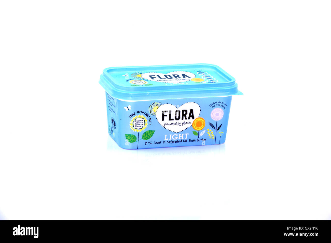 Plastic container of Flora light spread - Stock Image