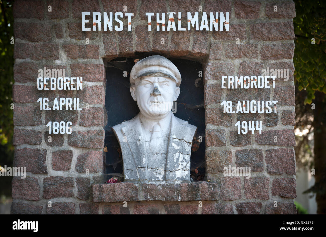 Monument in memory of Ernst Thälmann the murdered leader of the Communist Party in Germany in WW2. East Germany. - Stock Image