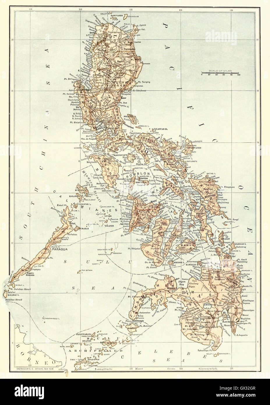 Map of the Philippines at the end of the 19th century. - Stock Image