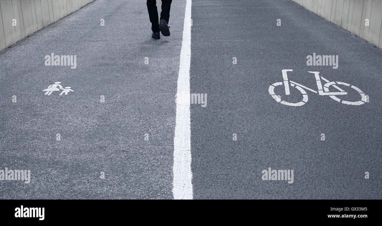 footpath and bike lane - Stock Image