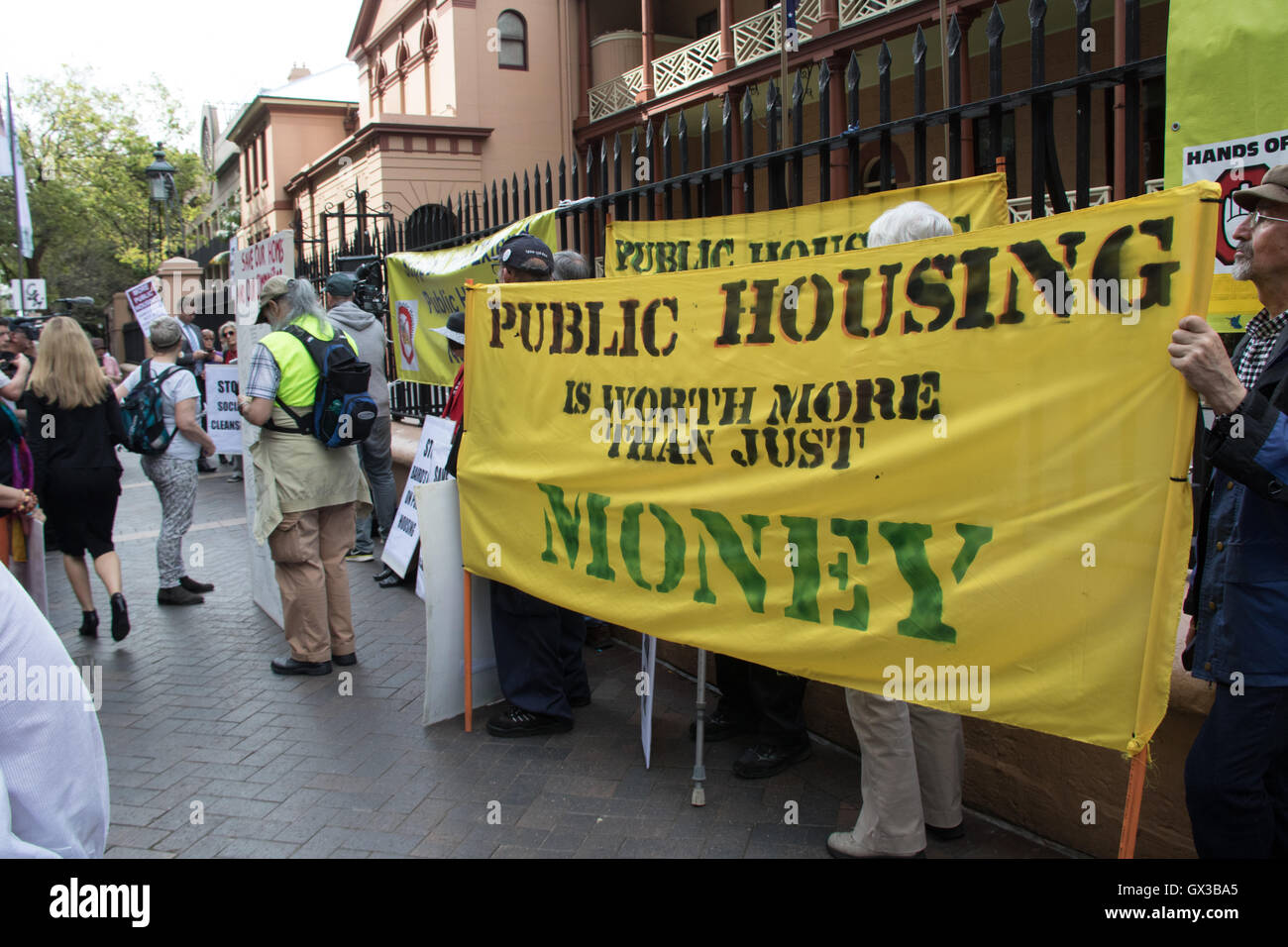 Sydney, Australia. 14 September 2016. Action for Public Housing organised a rally in support of public housing and Stock Photo
