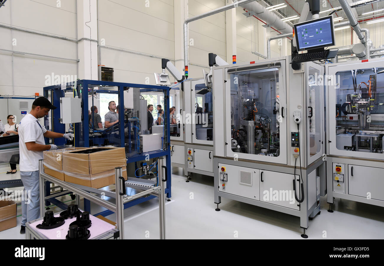 Prestanov, Czech Republic. 15th Sep, 2016. Opening of plant of SSI Technologies, US producer of measuring instruments, - Stock Image