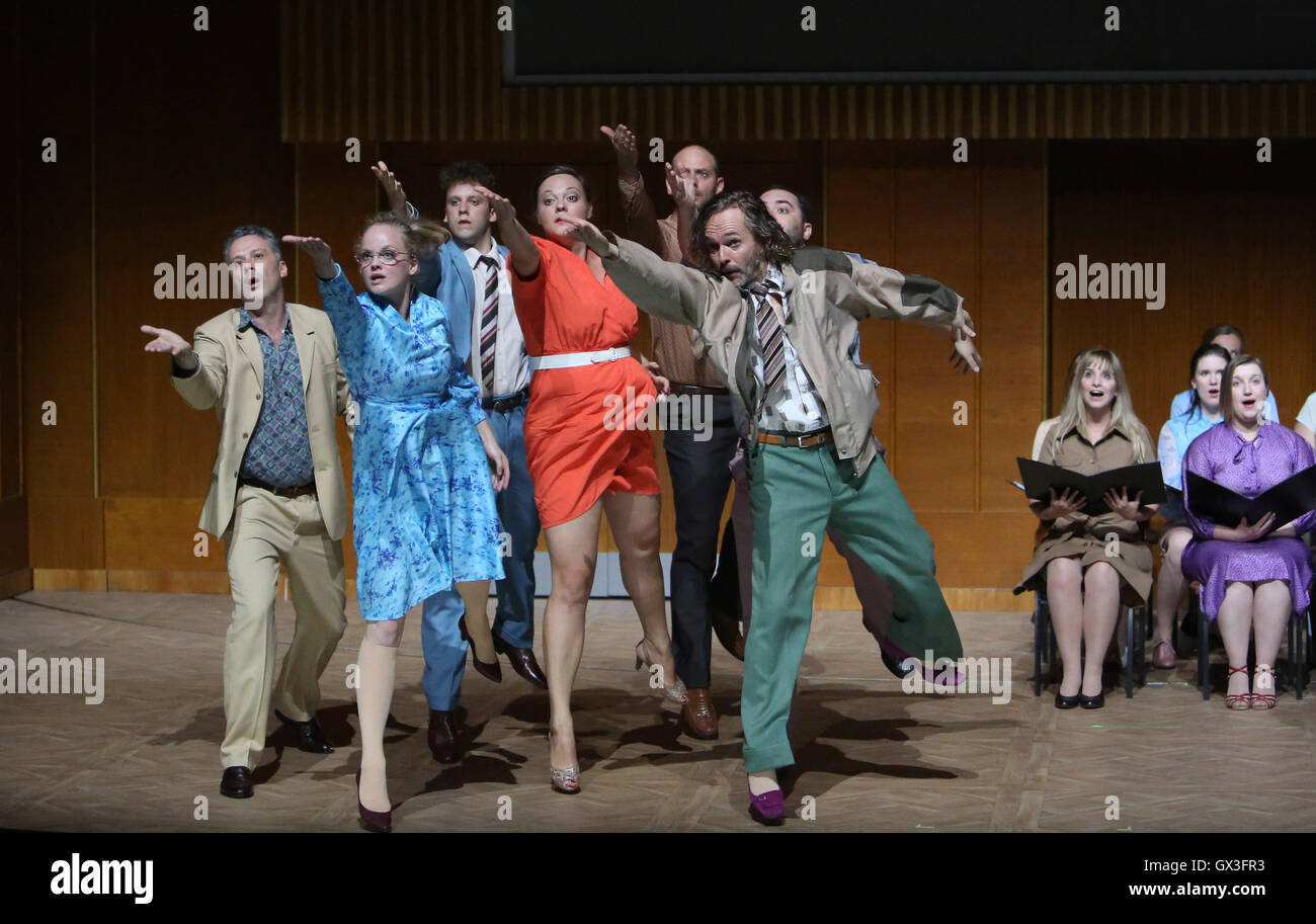 Actors rehearse '89/ 90' - adapted for the theatre by director Claudia Bauerthe from the novel by Peter - Stock Image