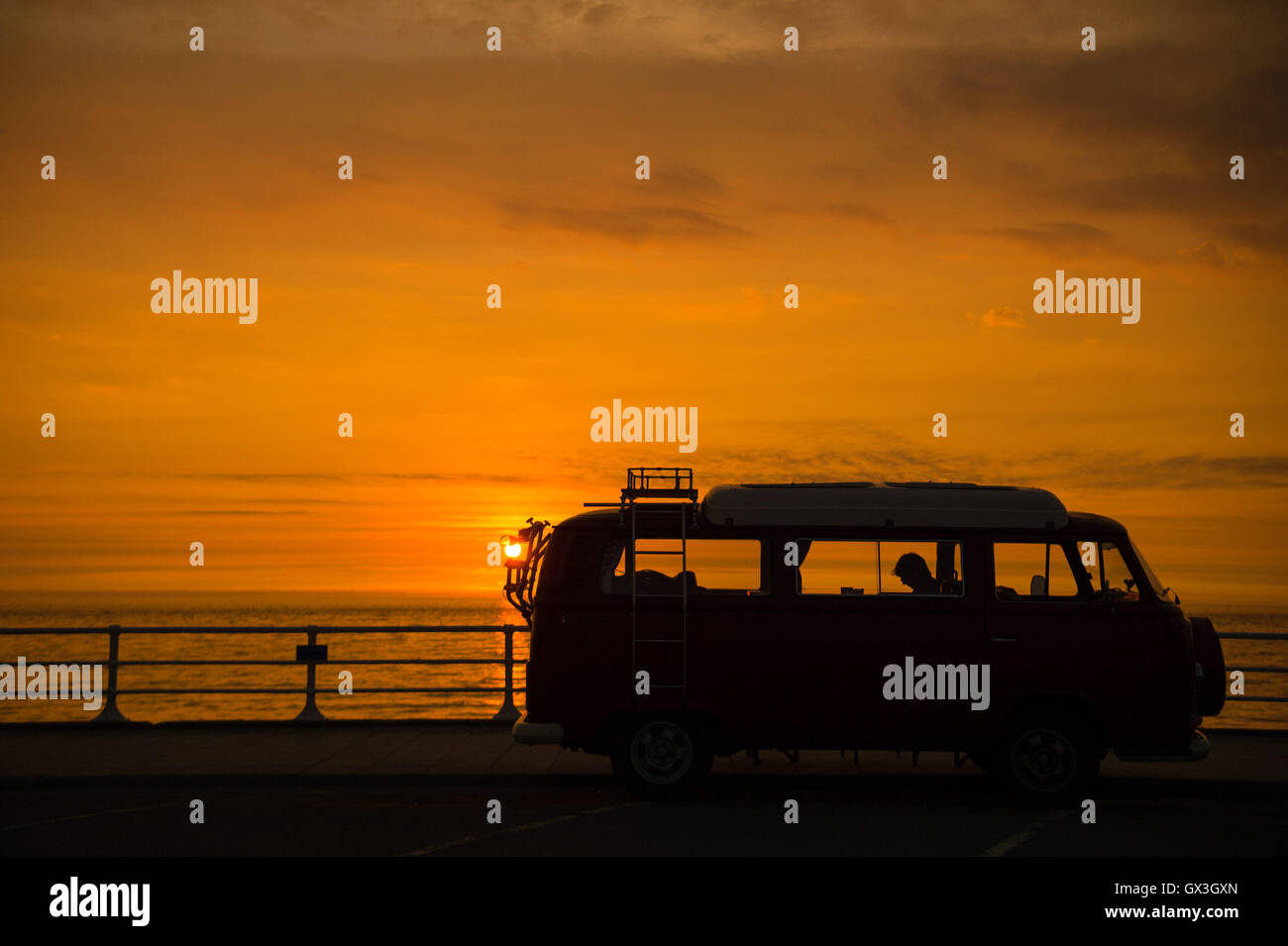 Aberystwyth Wales UK, Thursday 15 September 2016  UK weather: The classic iconic shape of a Volkswagen T2 camper Stock Photo