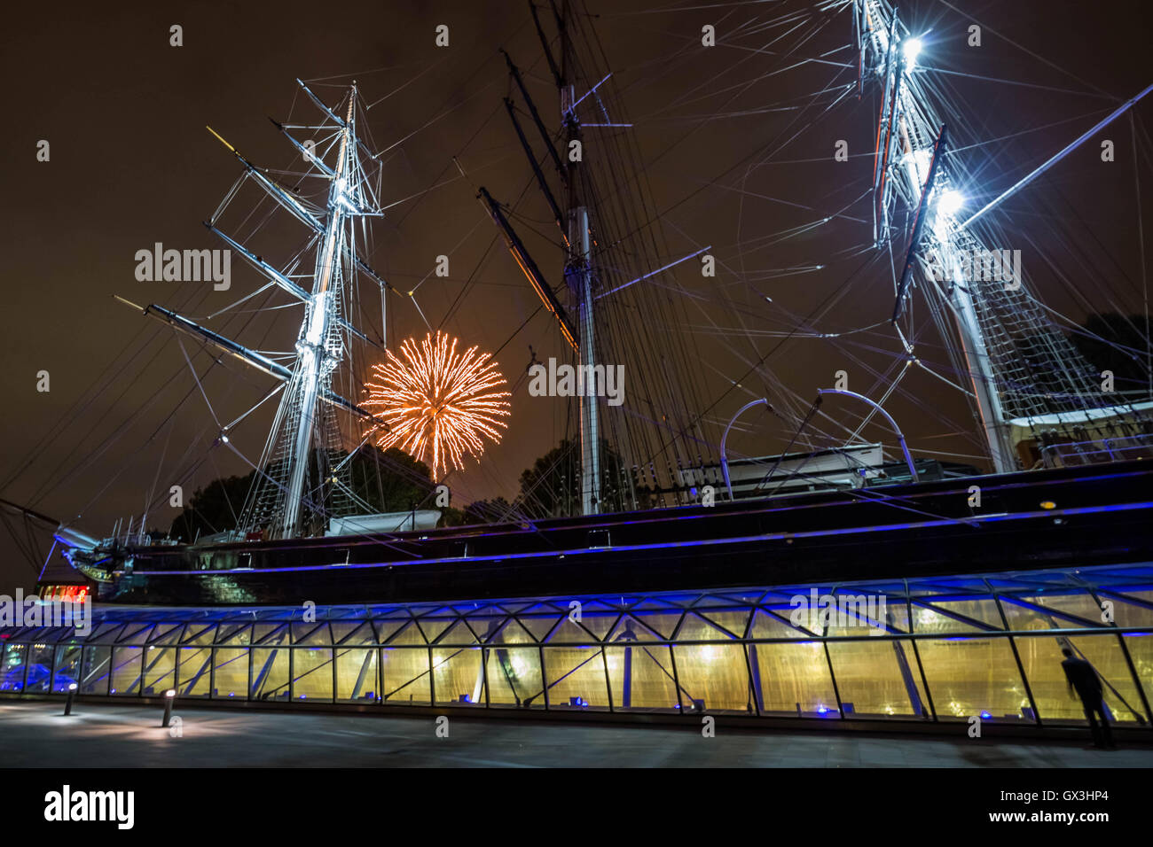 London, UK. 15th September, 2016. Cutty Sark ship seen during firework display at Royal Greenwich Tall Ships Festival - Stock Image