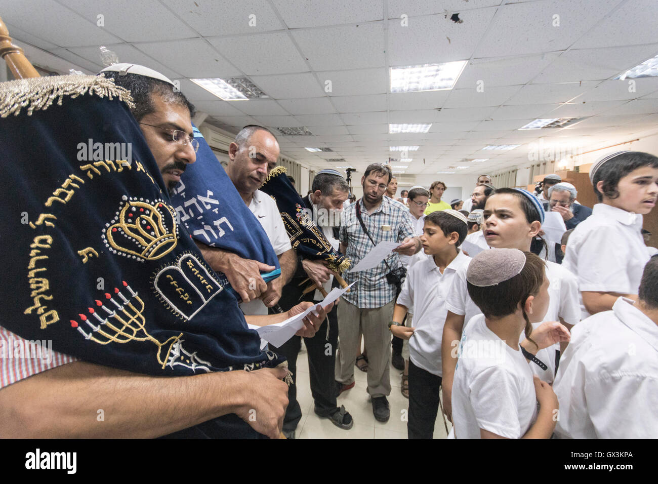 Neria, Israel. 15th September, 2016. Neria, Israel/West Bank. Celebrating the inauguration of a Torah scroll (Bible), - Stock Image