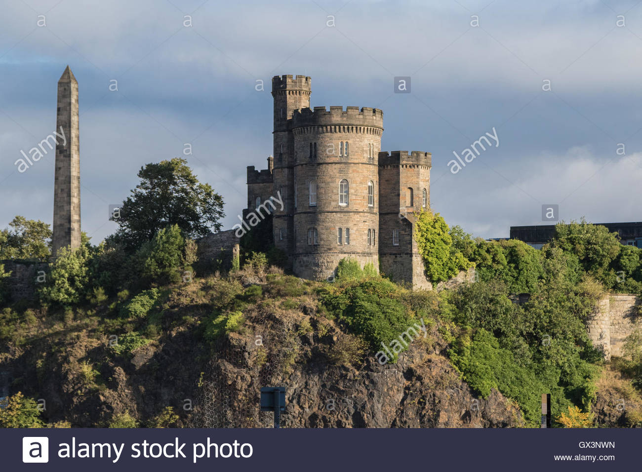 The Governor's House and the Political Martyrs' Monument on Calton Hill, Edinburgh Stock Photo