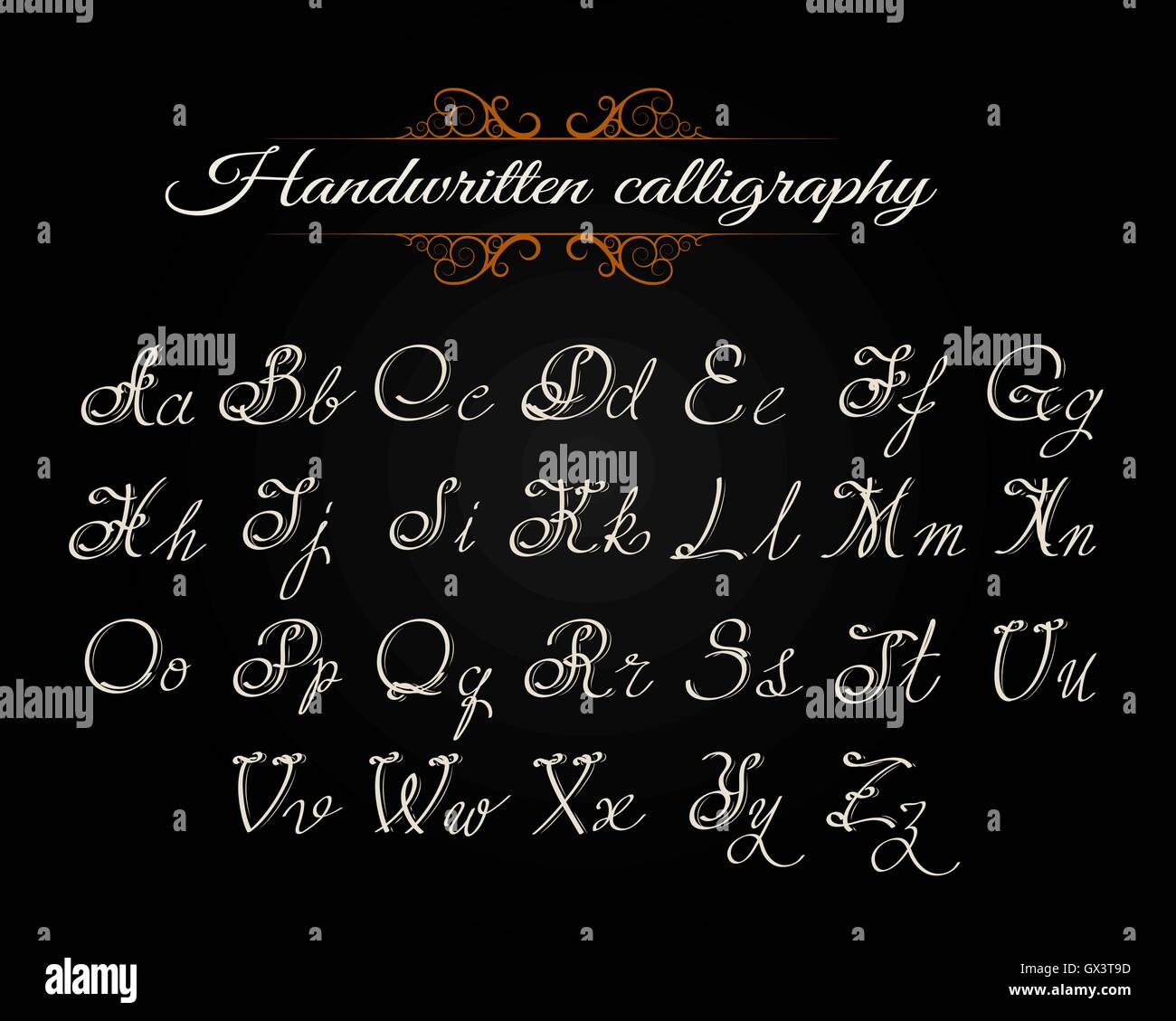 handwritten calligraphy alphabet latin letters on black
