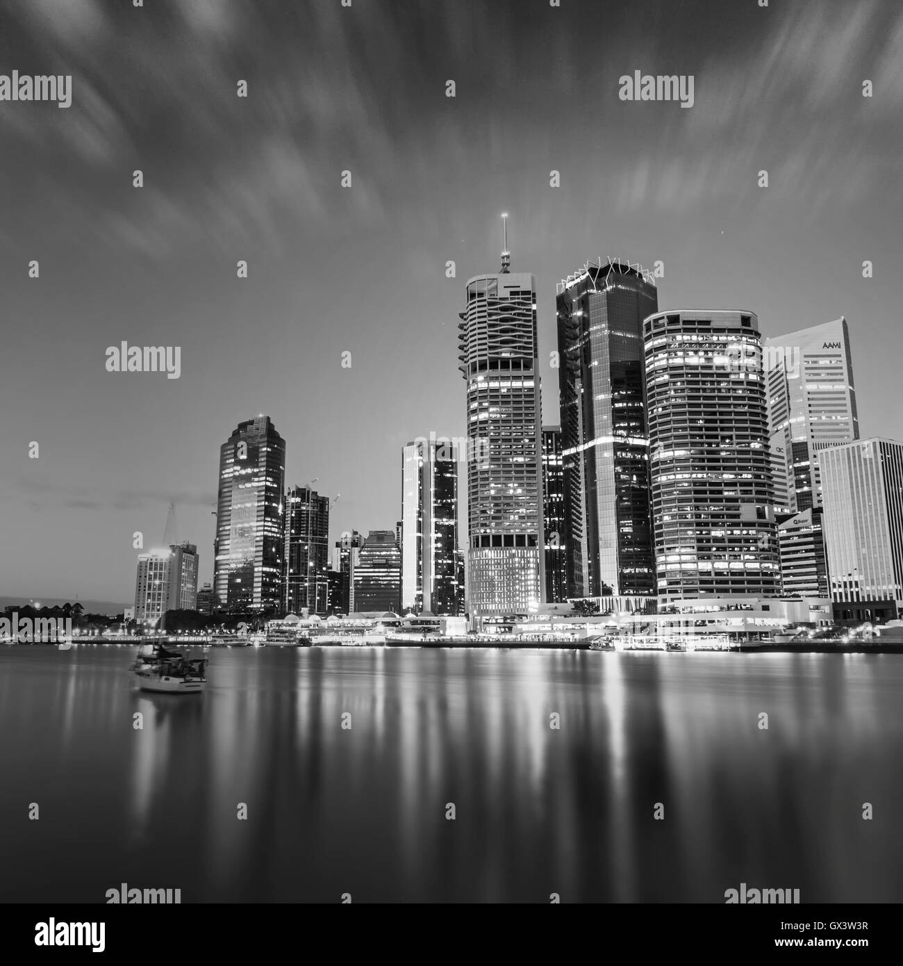 View on Brisbane City from Holman Street Terminal during dawn. - Stock Image