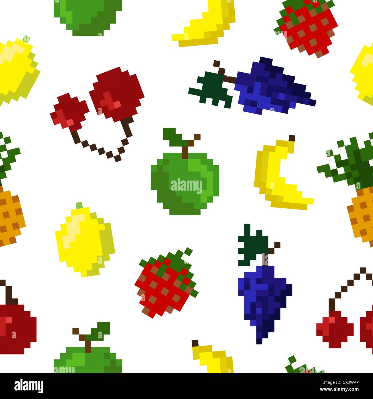 Pixel Fruit Background. Fruits Pattern. Pixel Art. Apple