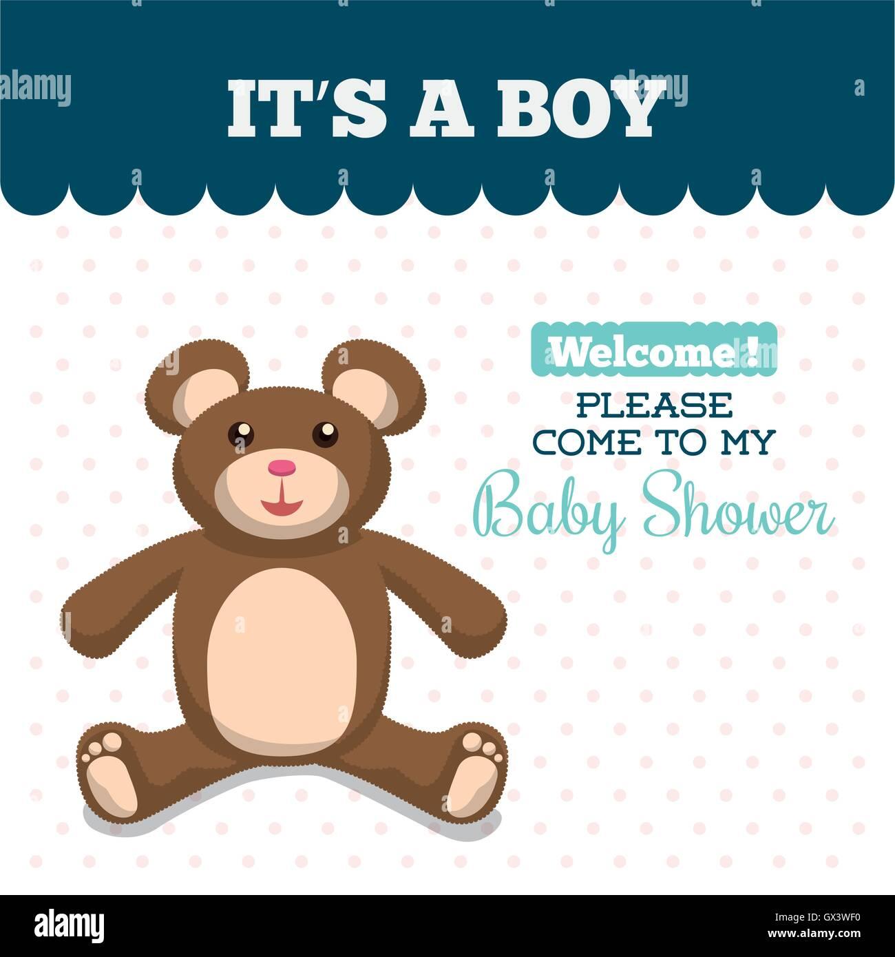 Baby Shower Invitation Card Design Stock Vector Art Illustration