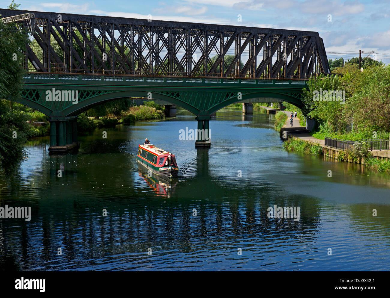 Narrowboat on River Nene, Peterborough, Cambridgeshire, England UK - Stock Image
