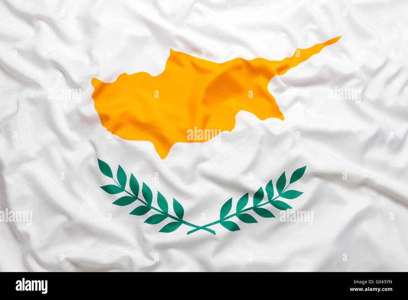 Textile flag of Cyprus for a background - Stock Image