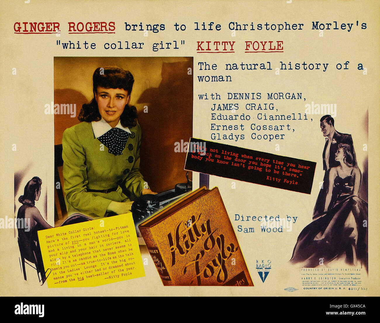 Ginger Rogers, Dennis Morgan, James Craig - KITTY FOYLE - 1940.  Directed by Sam Wood - Movie Poster - Stock Image