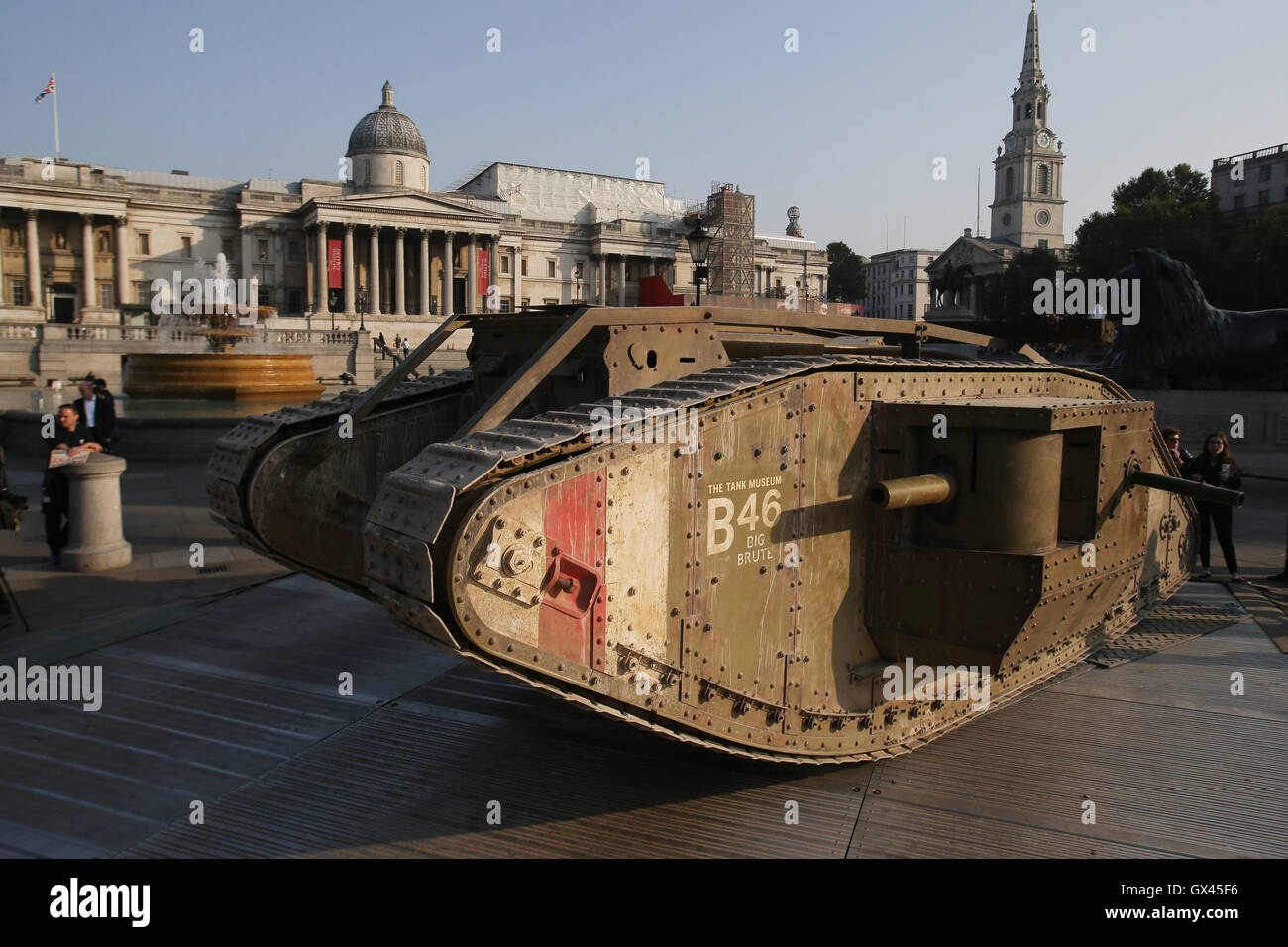 A replica First World War Mark IV tank in London's Trafalgar Square marking the centenary of an armoured vehicle's - Stock Image