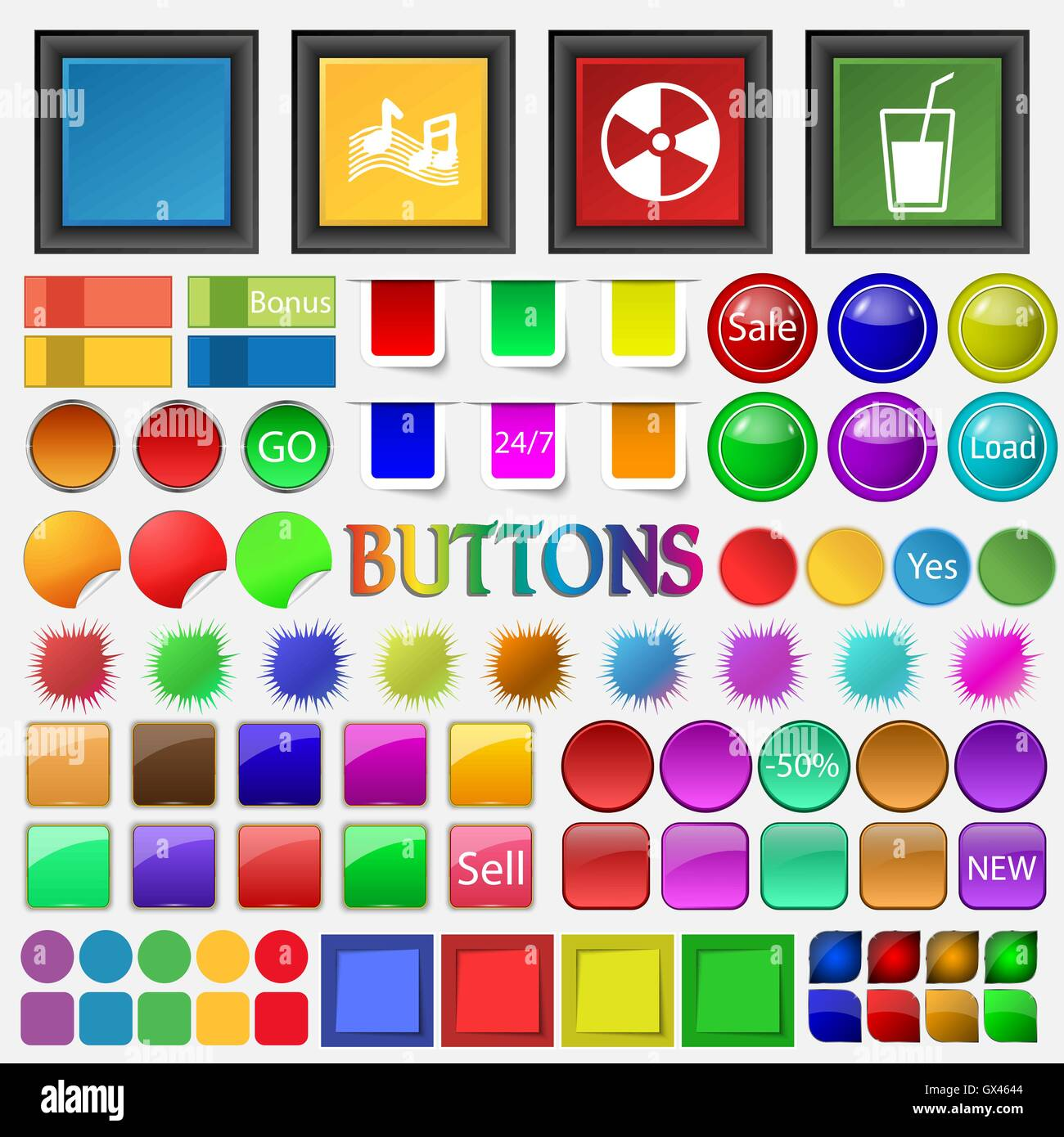 Graphics, ringtones , music , contamination , glass of milk , dr icon. Big set buttons for your site. Vector - Stock Image