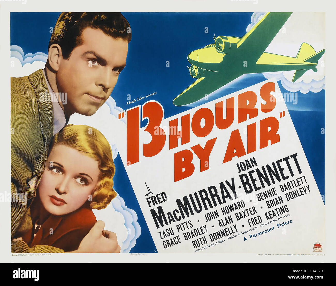 13 HOURS BY AIR 1936 Paramount Pictures film with Joan Bennett and Fred MacMurray - Stock Image