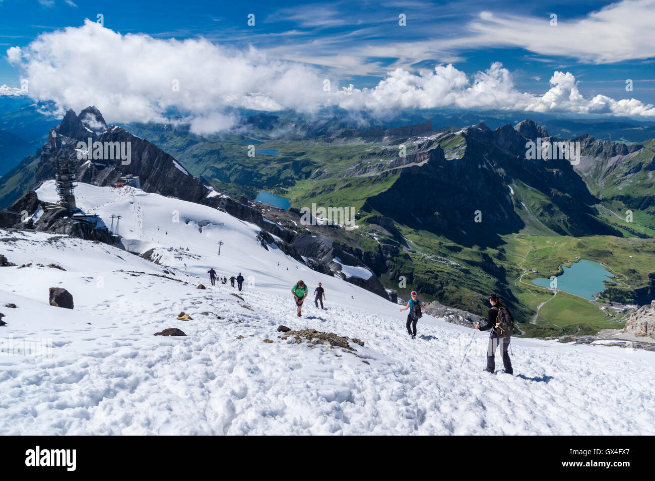 Hikers on the snow descending from Titlis mountain summit to the Titlis cable car station. Engelberg, Switzerland. Stock Photo