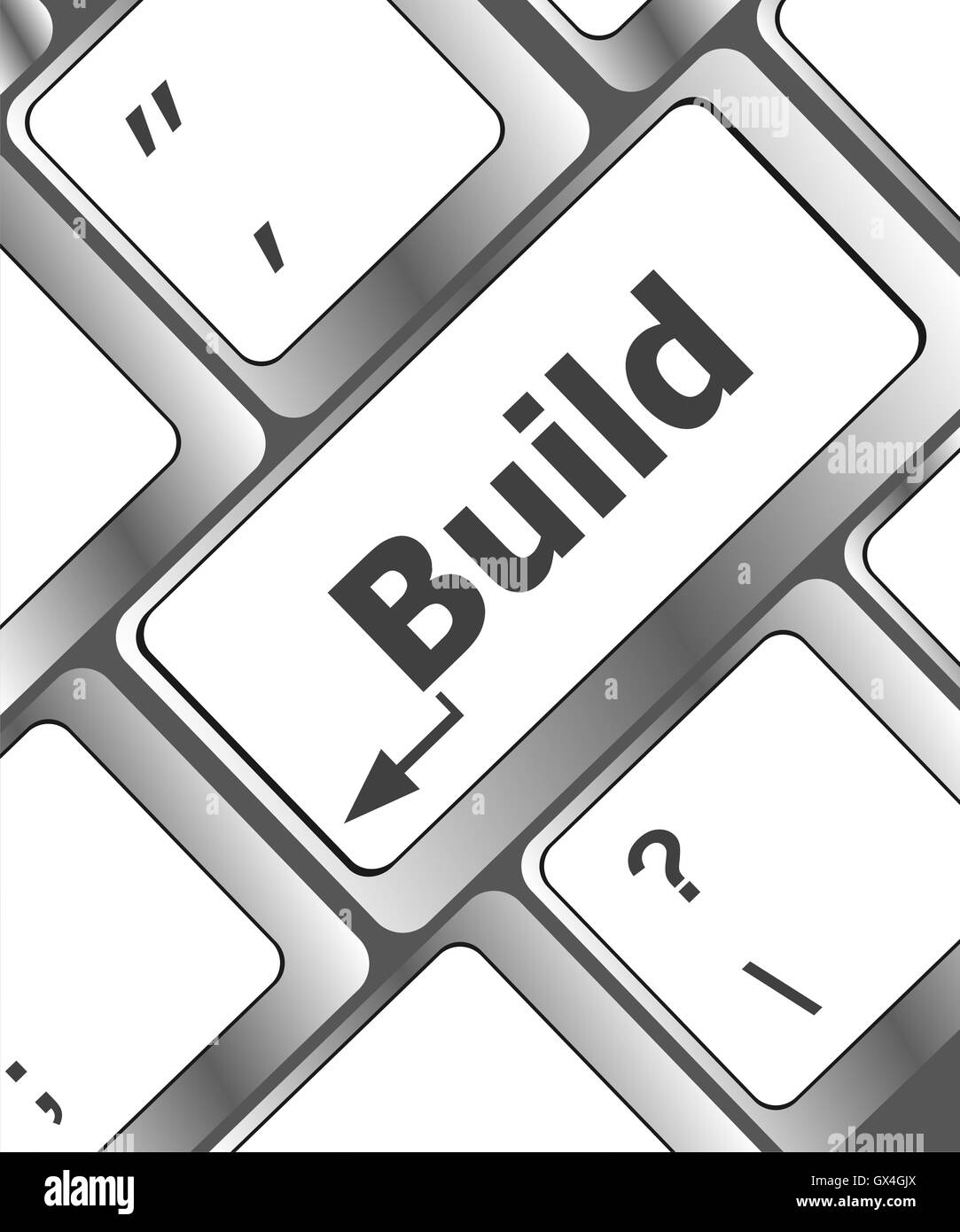 Computer keyboard with Build key. business concept Stock Photo