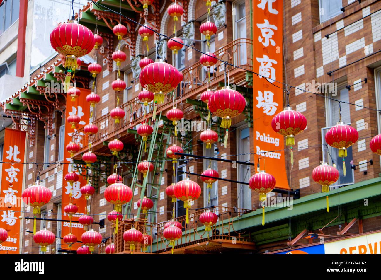 Red lanterns outside Peking Bazaar in China Town San Francisco, California Stock Photo