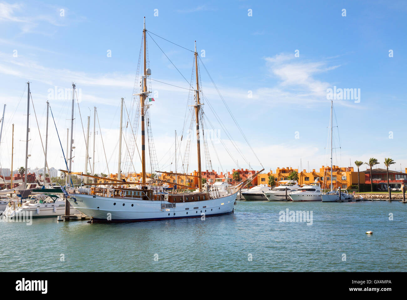 A sailboat moored in Portimao marina, Portimao, Algarve, Portugal, Europe - Stock Image