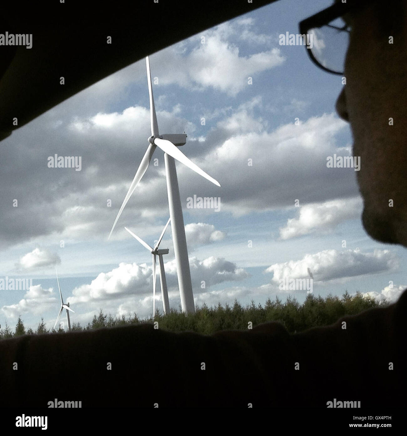 Windfarm on the M8 motorway, in Glasgow, Scotland, on 5 May 2016. - Stock Image