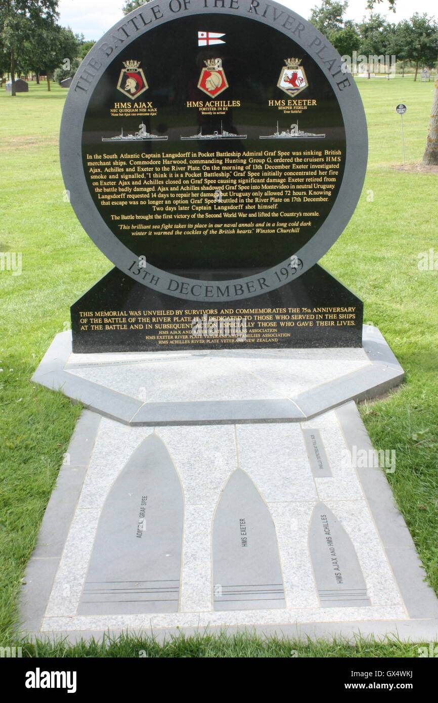 The Battle of the River Plate memorial at the National Memorial Arboretum, Alrewas, Staffordshire, England Stock Photo