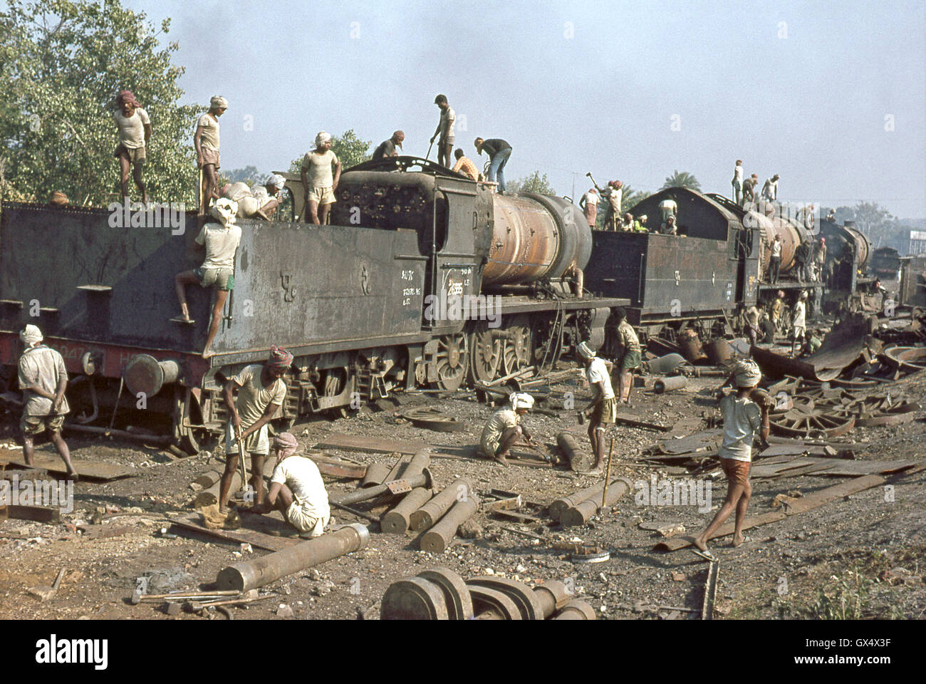 Indian Railways Standard BESA 2-8-0s and XE Mikados being cut up at Jamalpur Works, December 1976. Stock Photo