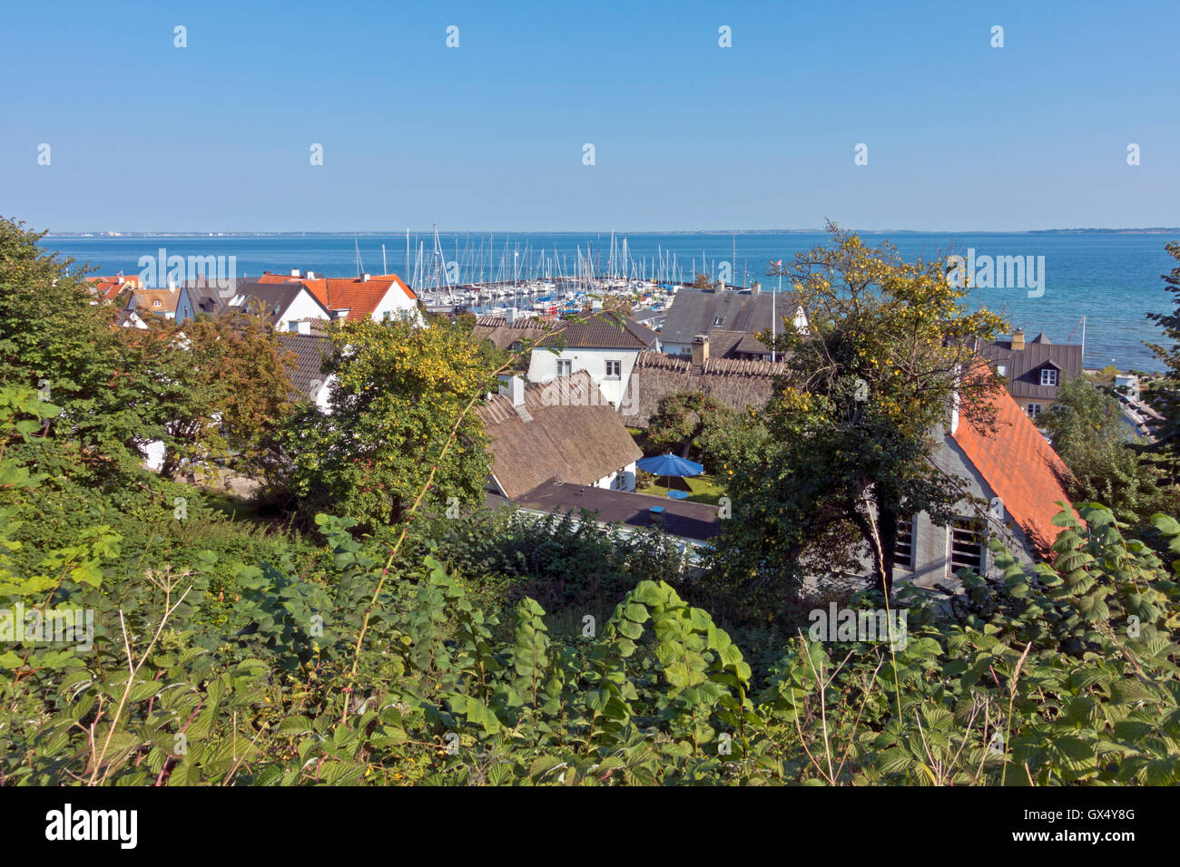 View of old thatched houses and the small harbour in beautiful fishing hamlet Sletten at Øresund  abt. 12 km - Stock Image