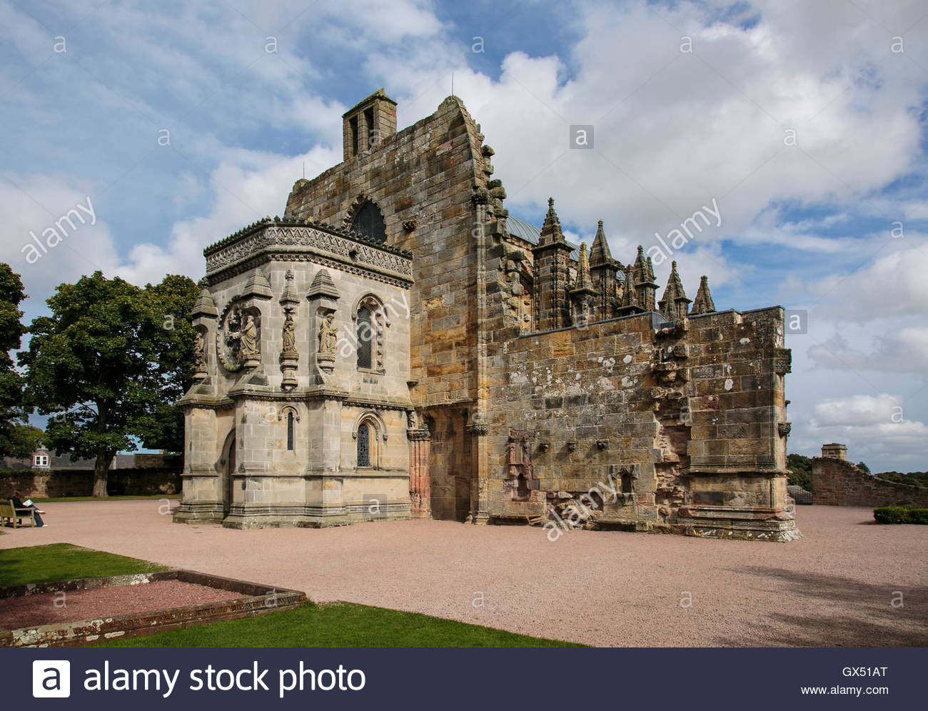 The famous and historic Rosslyn Chapel in Scotland - Stock Image