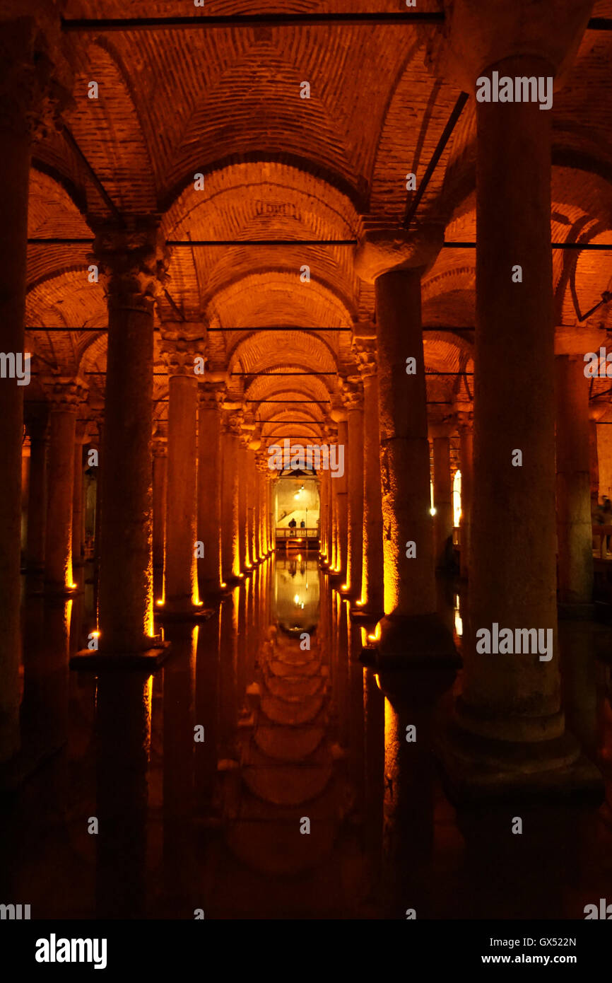 Picture of inside view of Basilica cistern in Istanbul - Stock Image
