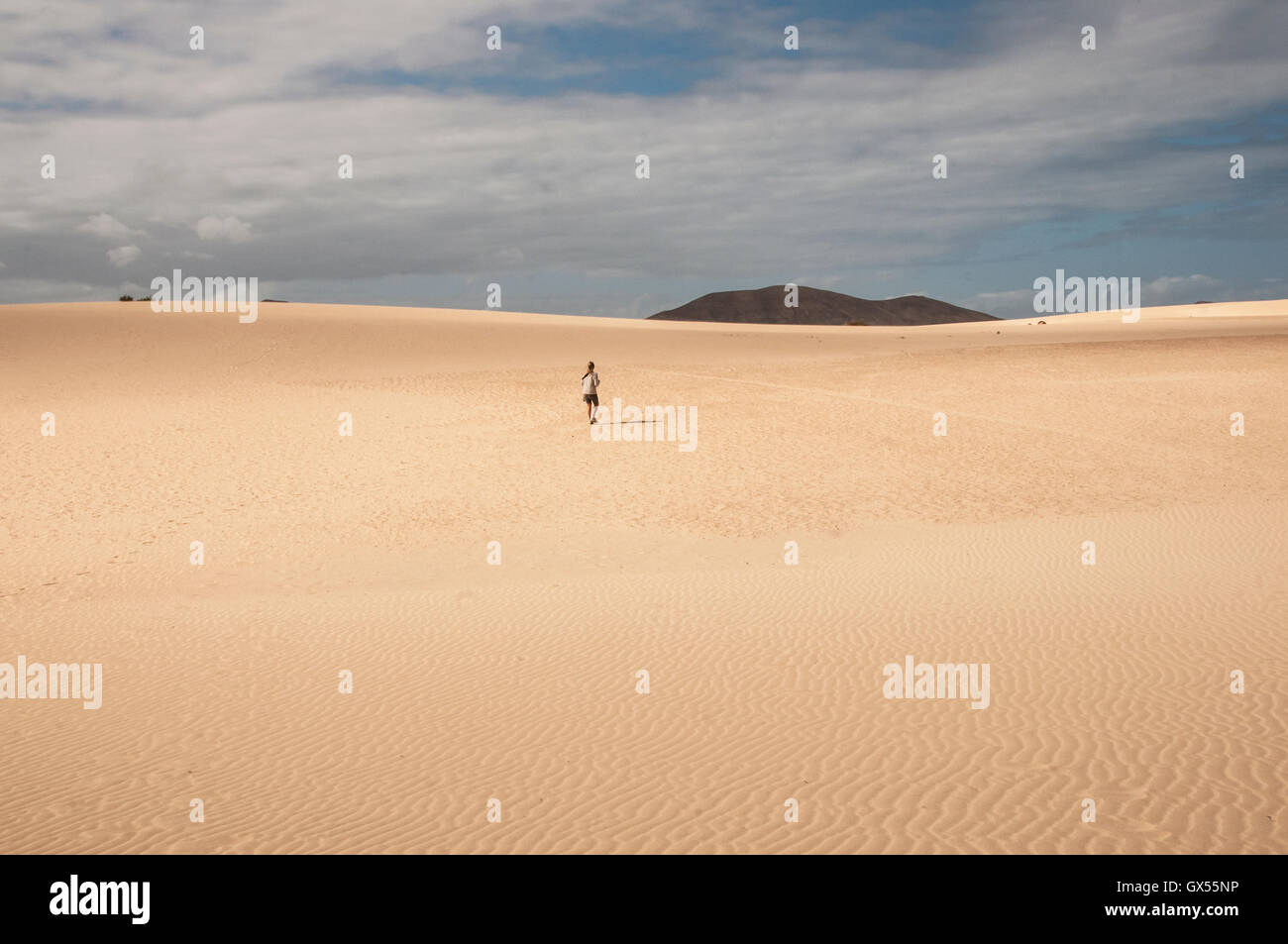 50-55 years woman in the desert landscape  of fuerteventura Canary Island - Stock Image