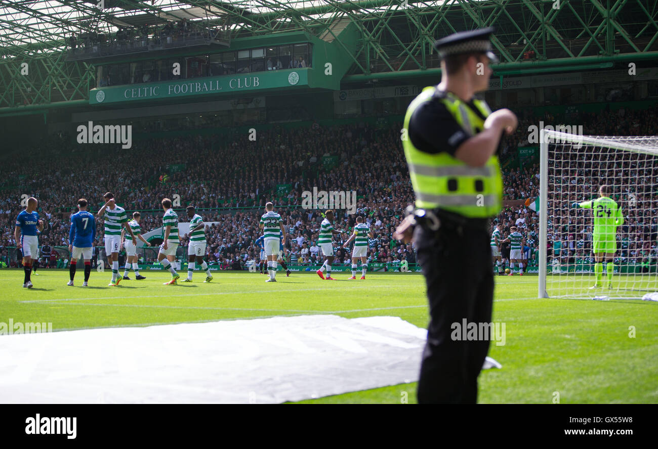 Policing at Celtic v Rangers Old Firm game - Stock Image