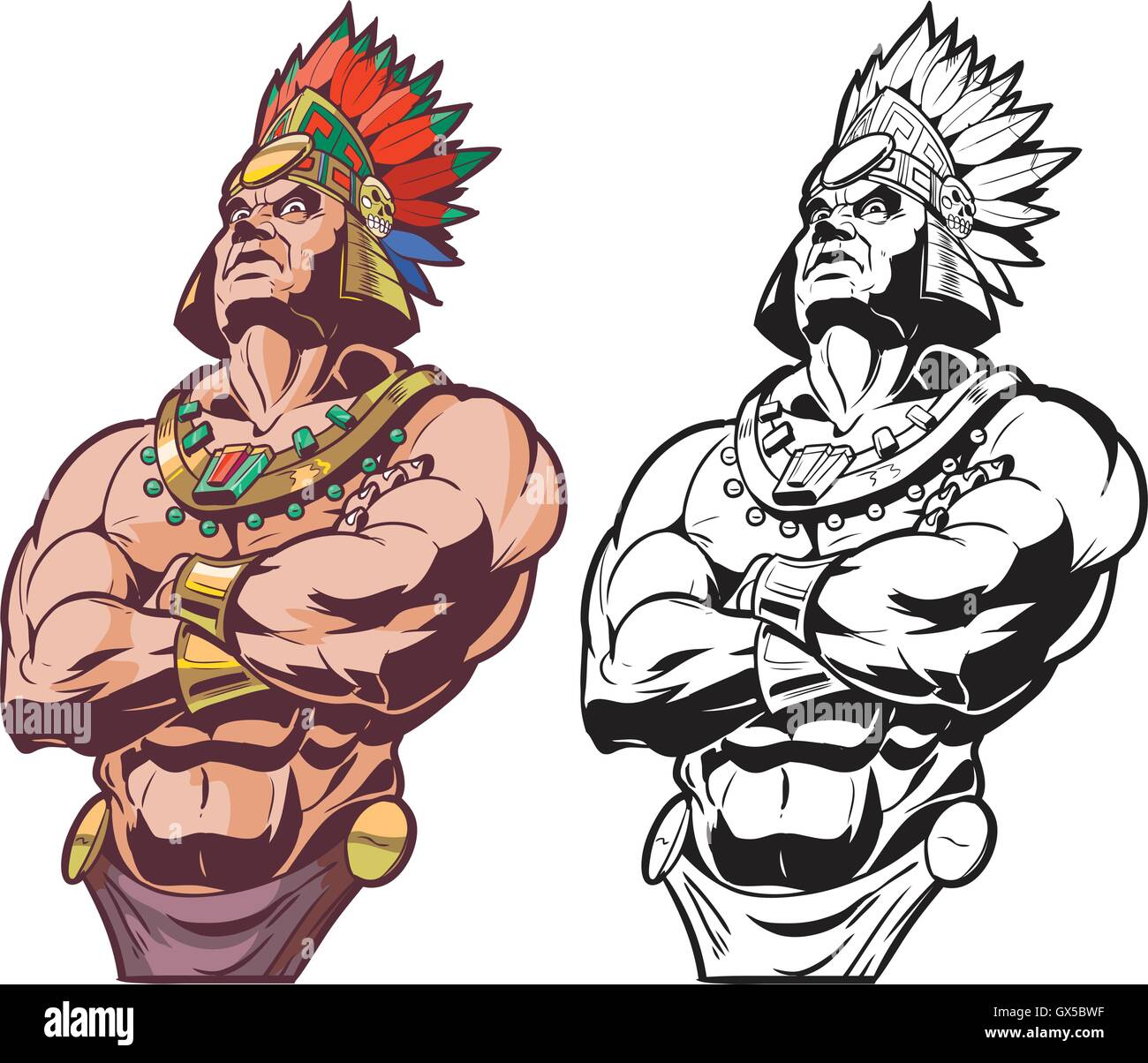 Vector cartoon clip art illustration bust of an Inca or Mayan or Aztec warrior or chief mascot looking tough and - Stock Image