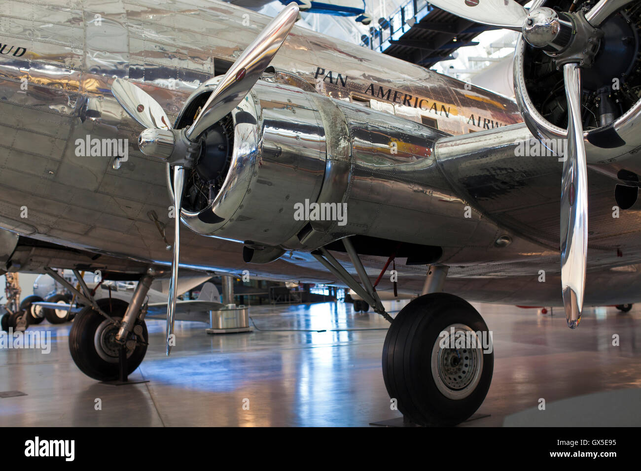 Pan Am Clipper, Pan American Airways Clipper, retro propeller aircraft - Stock Image