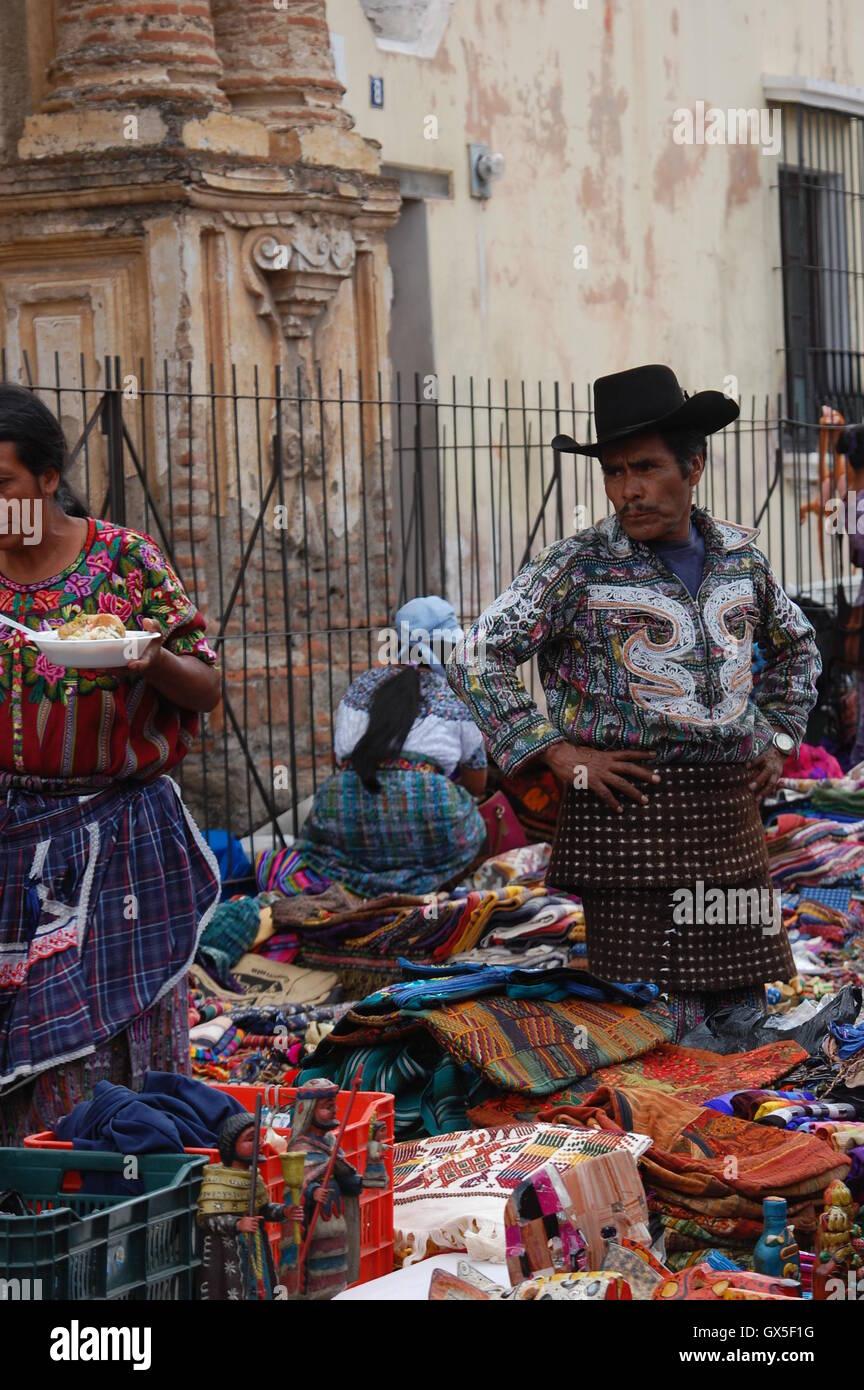 Indigenous people selling various traditional craft, Antigua Guatemala - Stock Image