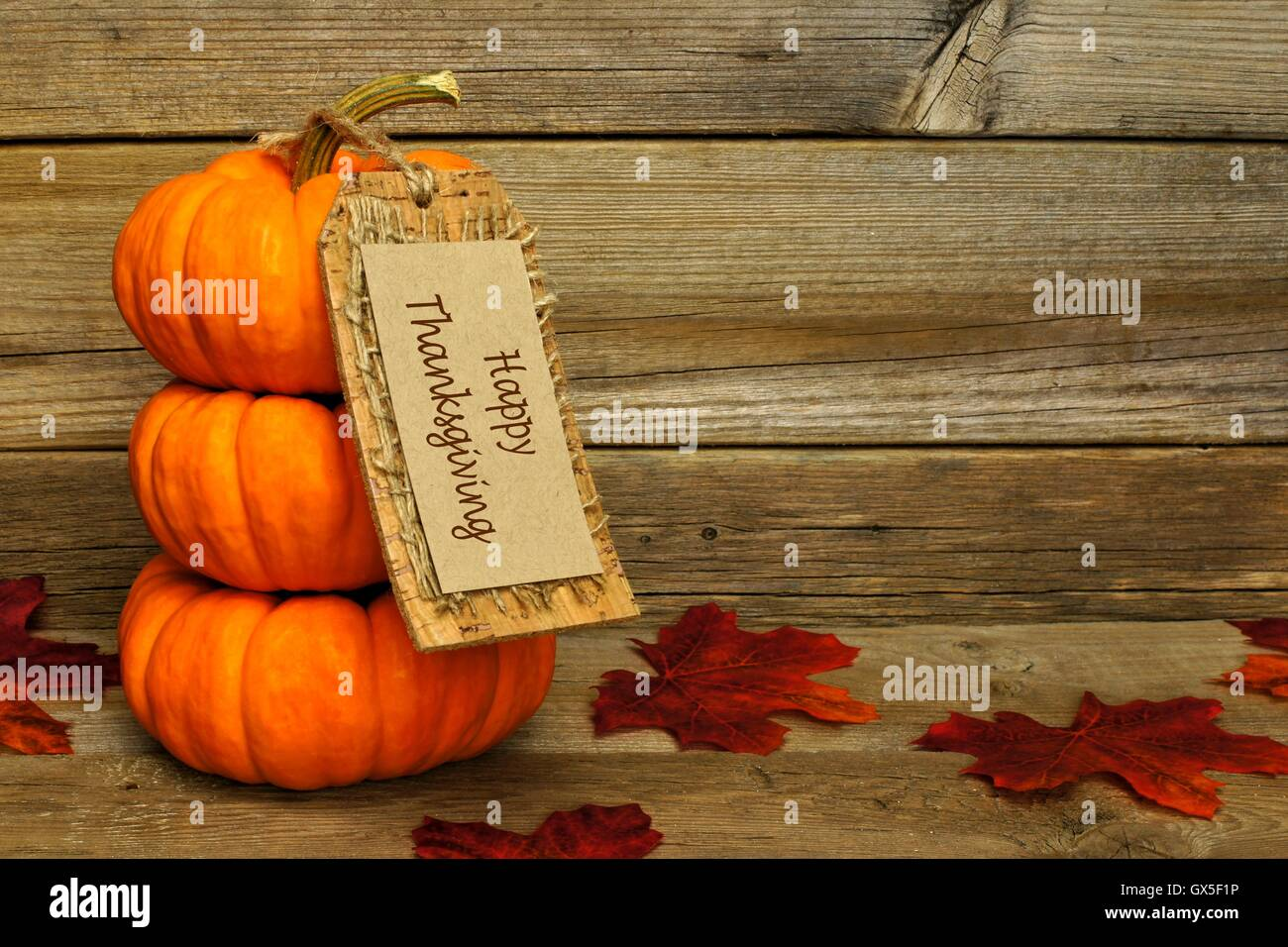 Stack of mini pumpkins with Happy Thanksgiving tag on a wood background Stock Photo