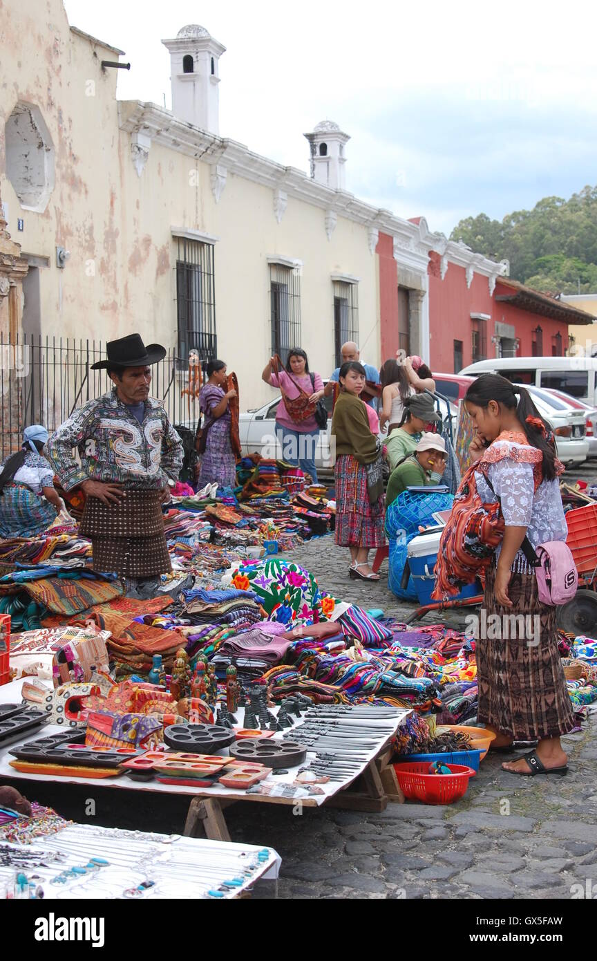 Indigenous people selling traditional craft, Antigua Guatemala - Stock Image