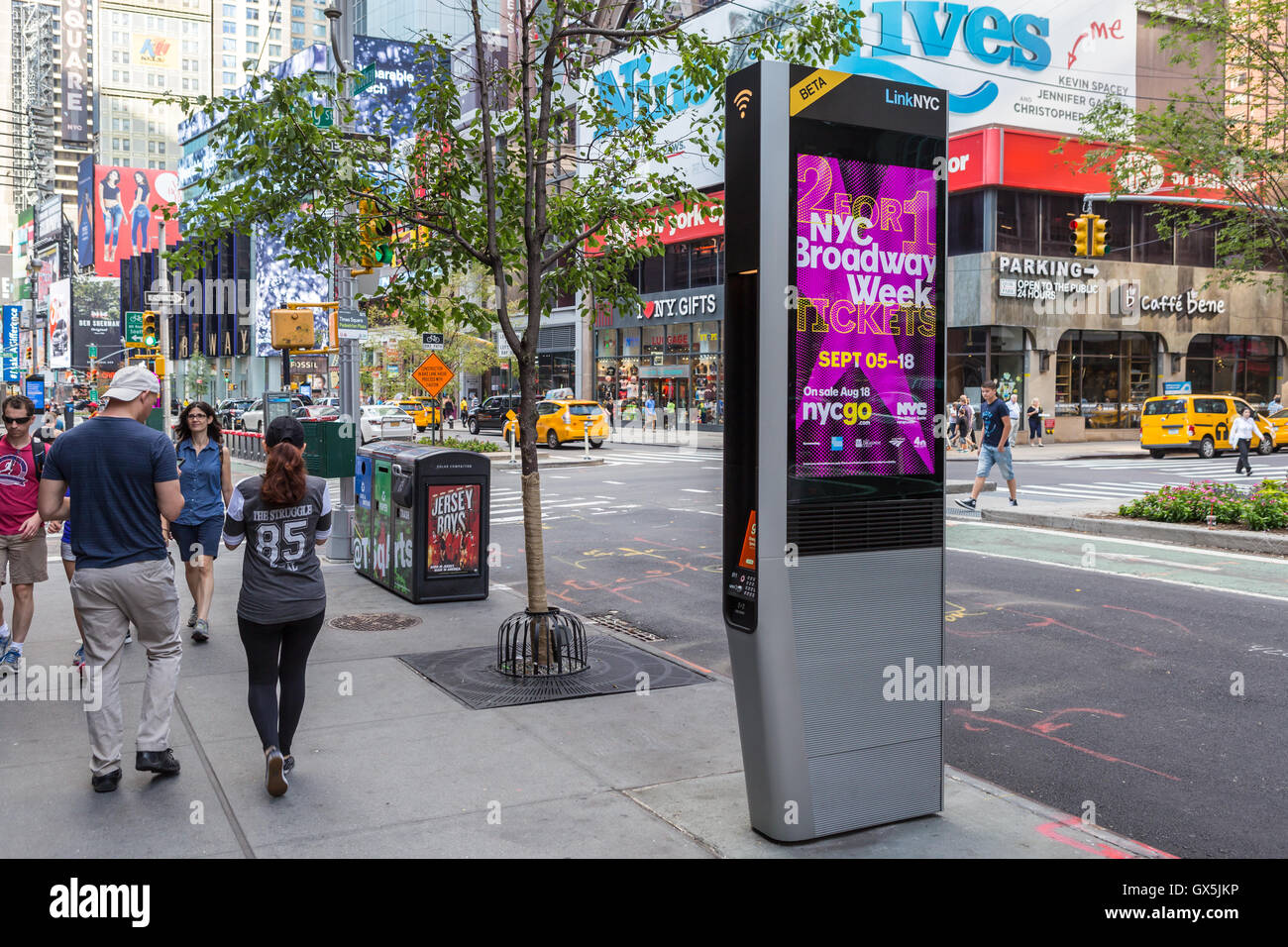 A LinkNYC Wi-Fi kiosk available for free public use on a mid-town street in New York City. - Stock Image