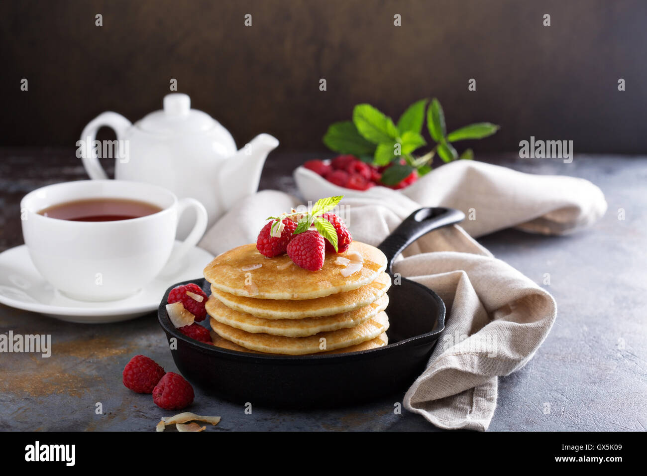 Stack of fluffy buttermilk pancakes - Stock Image
