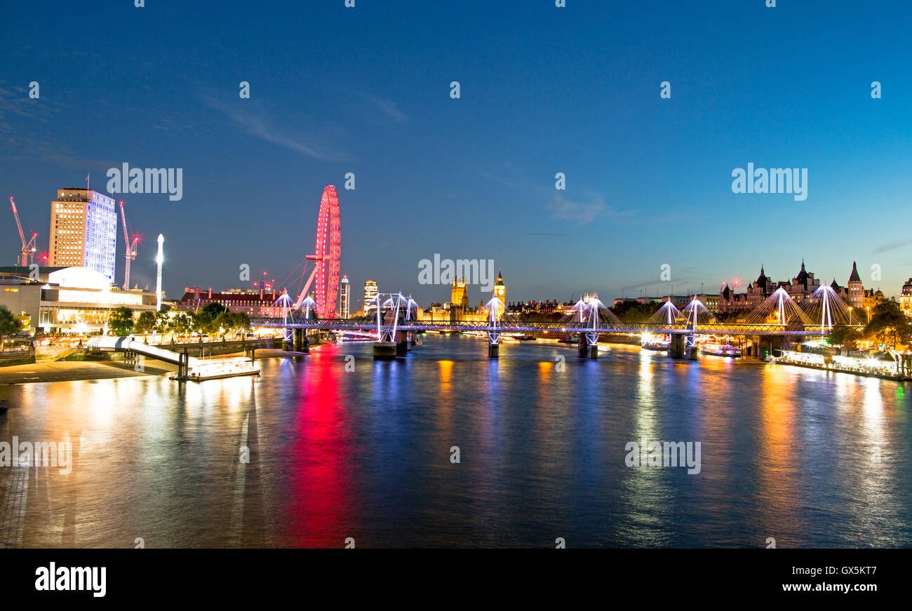 London Eye Skyline at Night From Waterloo Bridge London UK - Stock Image
