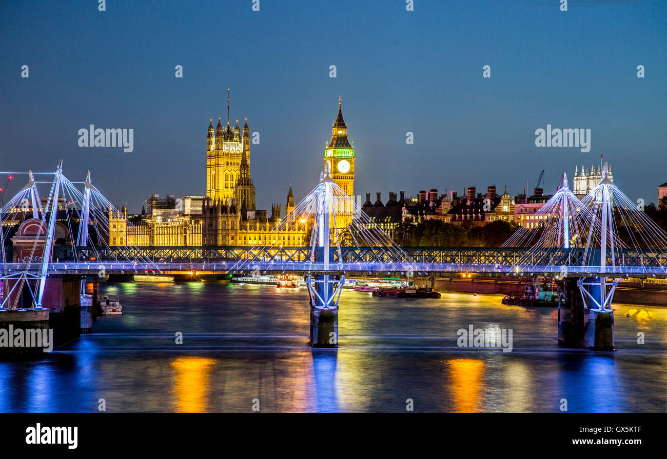 Big Ben and the Palace Of Westminster at Night from Waterloo Bridge London UK - Stock Image