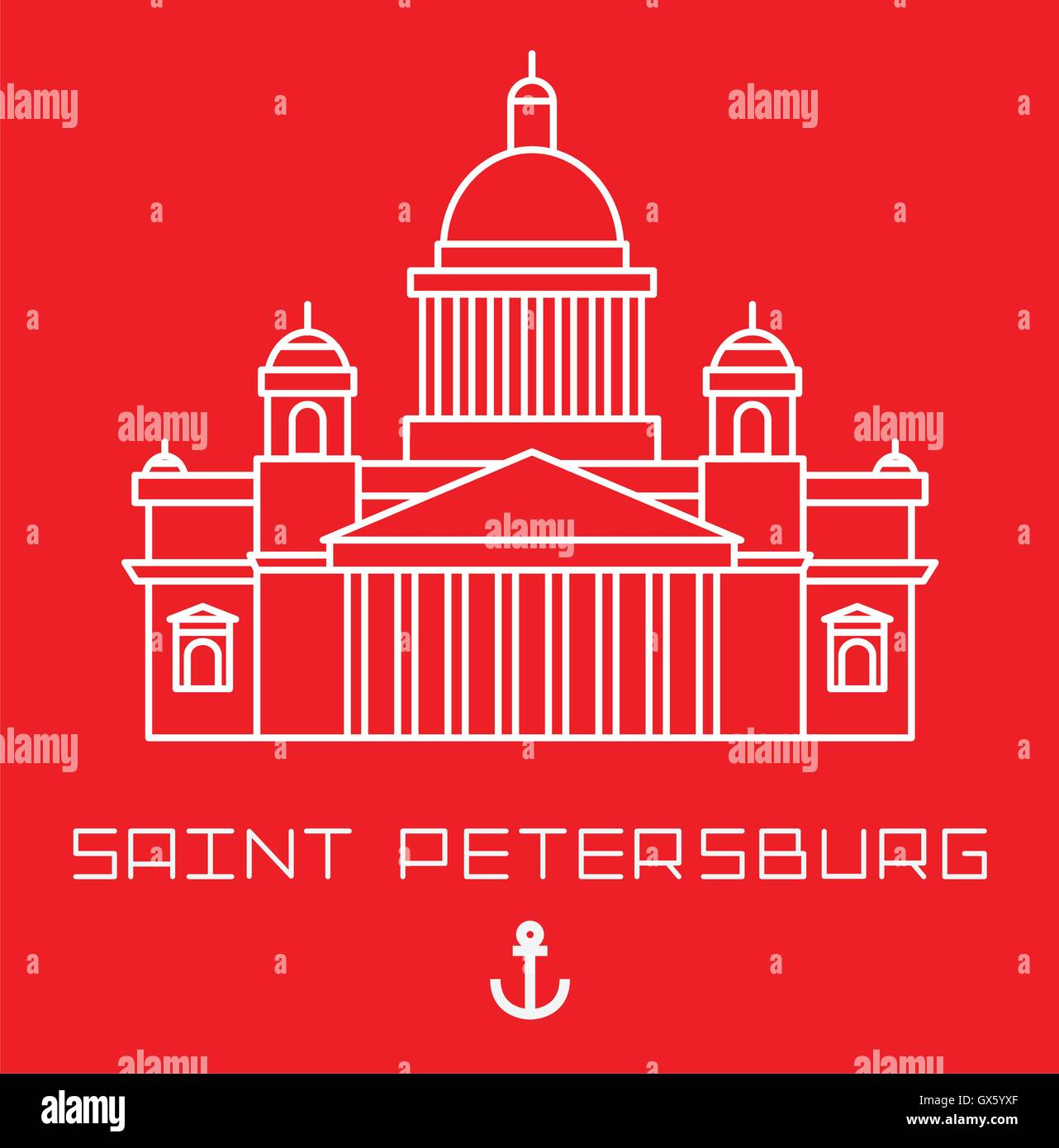Saint Isaac Cathedral in Saint Petersburg Russia. Modern linear minimalist icon. Line sightseeing concept - Stock Vector