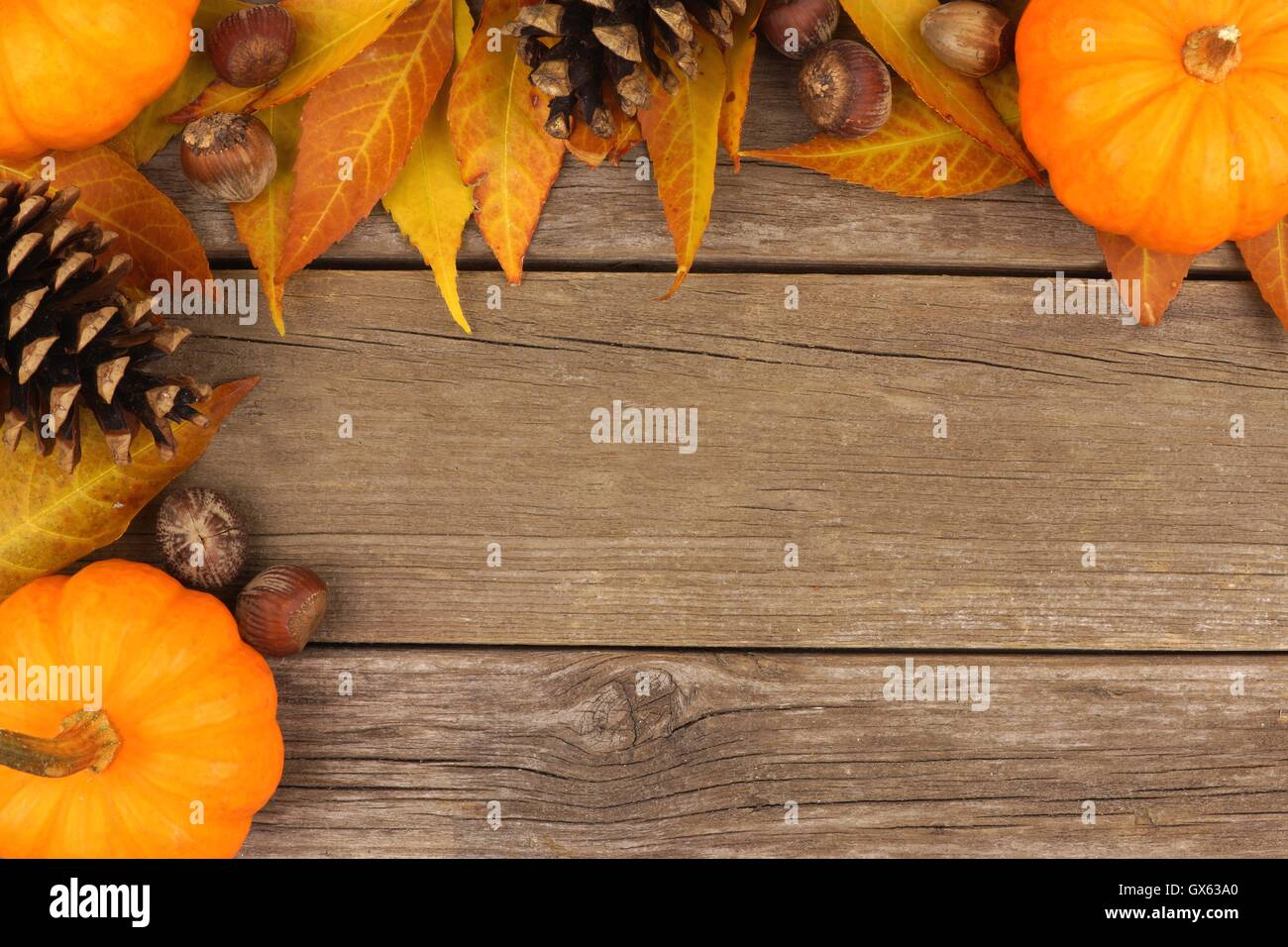 Autumn Corner Border Of Pumpkins Leaves And Pine Cones Against A Rustic Wood Background