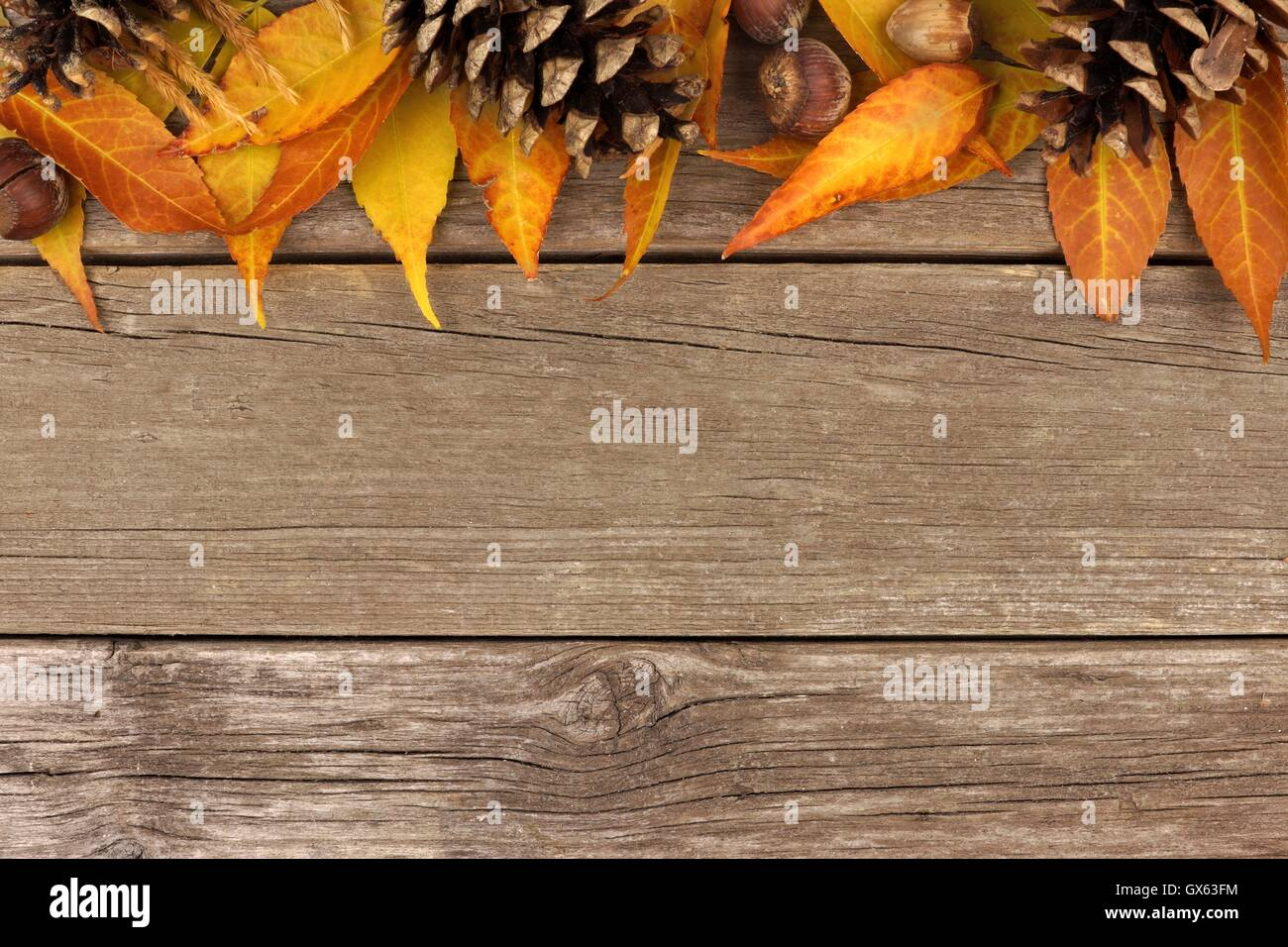 Autumn Top Border Of Colorful Leaves And Pine Cones Against A Rustic Wood Background