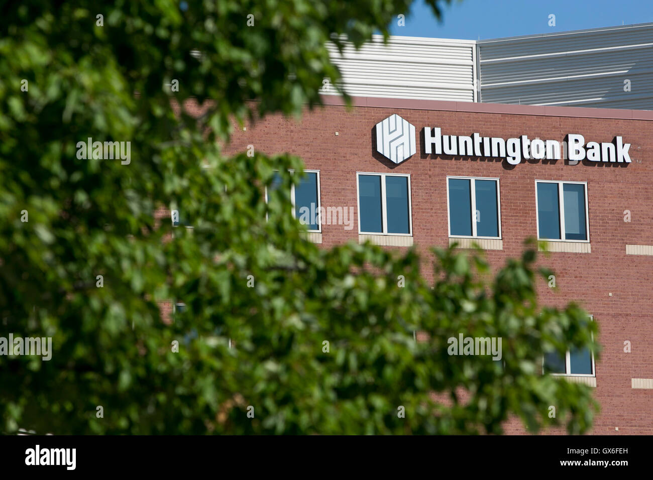 A logo sign outside of the headquarters of Huntington Bancshares, Inc., in Columbus, Ohio on July 23, 2016. Stock Photo