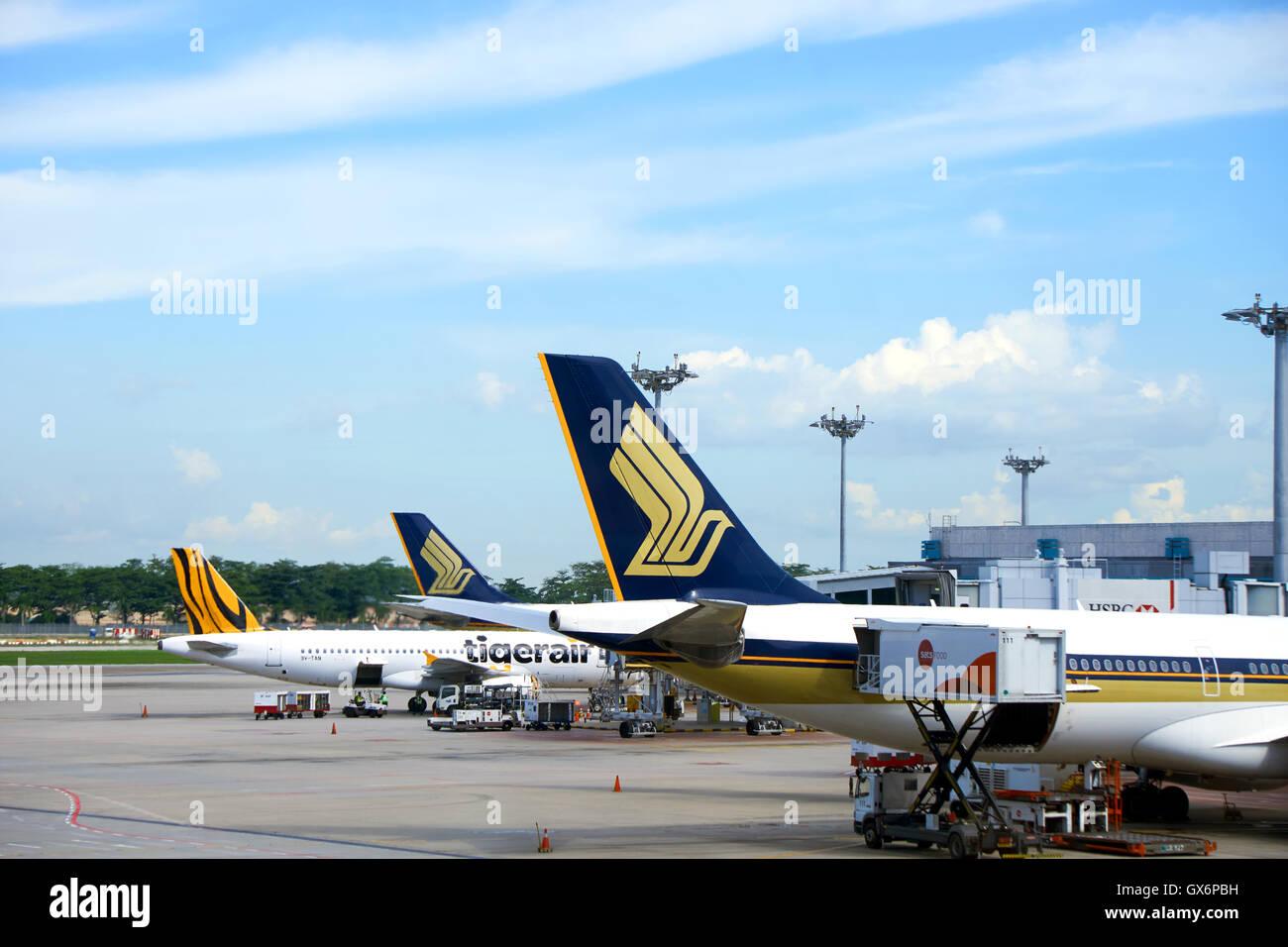 aircraft docked at Changi Airport. - Stock Image