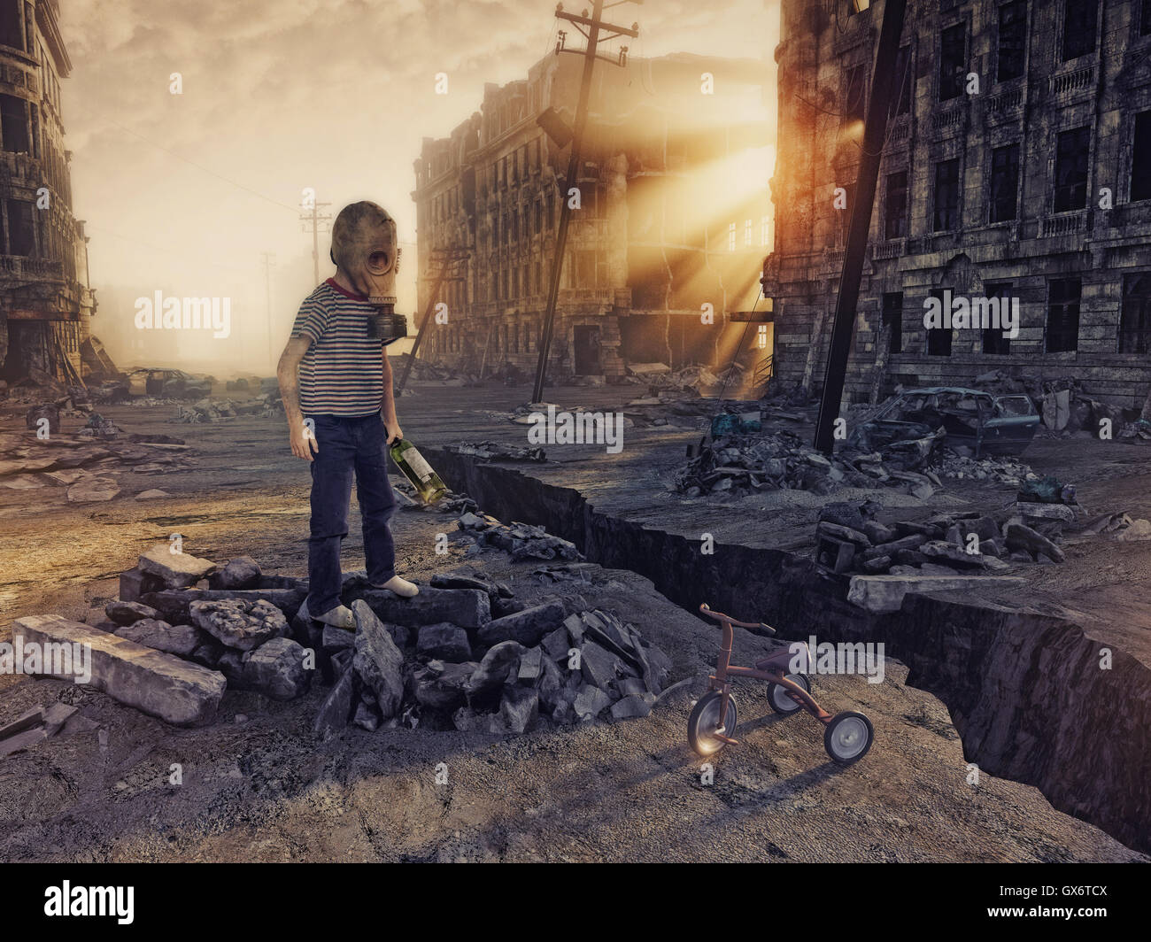 ruins of a city with and the boy  in the street. 3d illustration concept - Stock Image